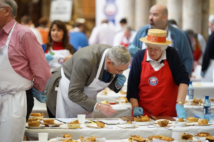 Two judges taking their job very seriously at this year's British Pie Awards.