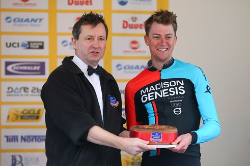 24th April 2016. CiCLE Classic 2016.Stephen Hallam presenting Tim Stewart from Team Madison Genesis with his superb prize for being the first rider into Melton Mowbray. Entirely appropriate that its Pork Pie!